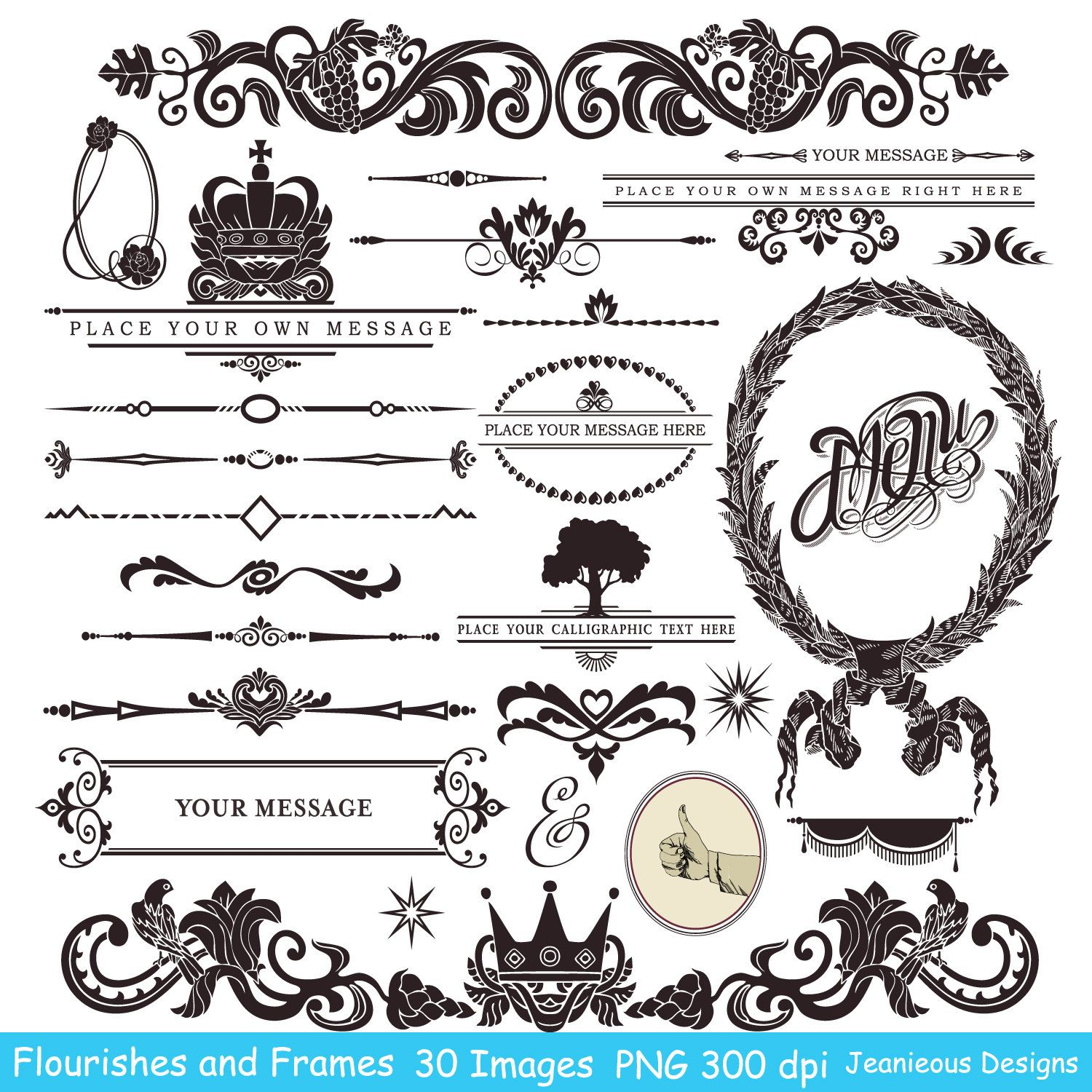 Vintage Calligraphy Clip art Design Style Elements Wedding.