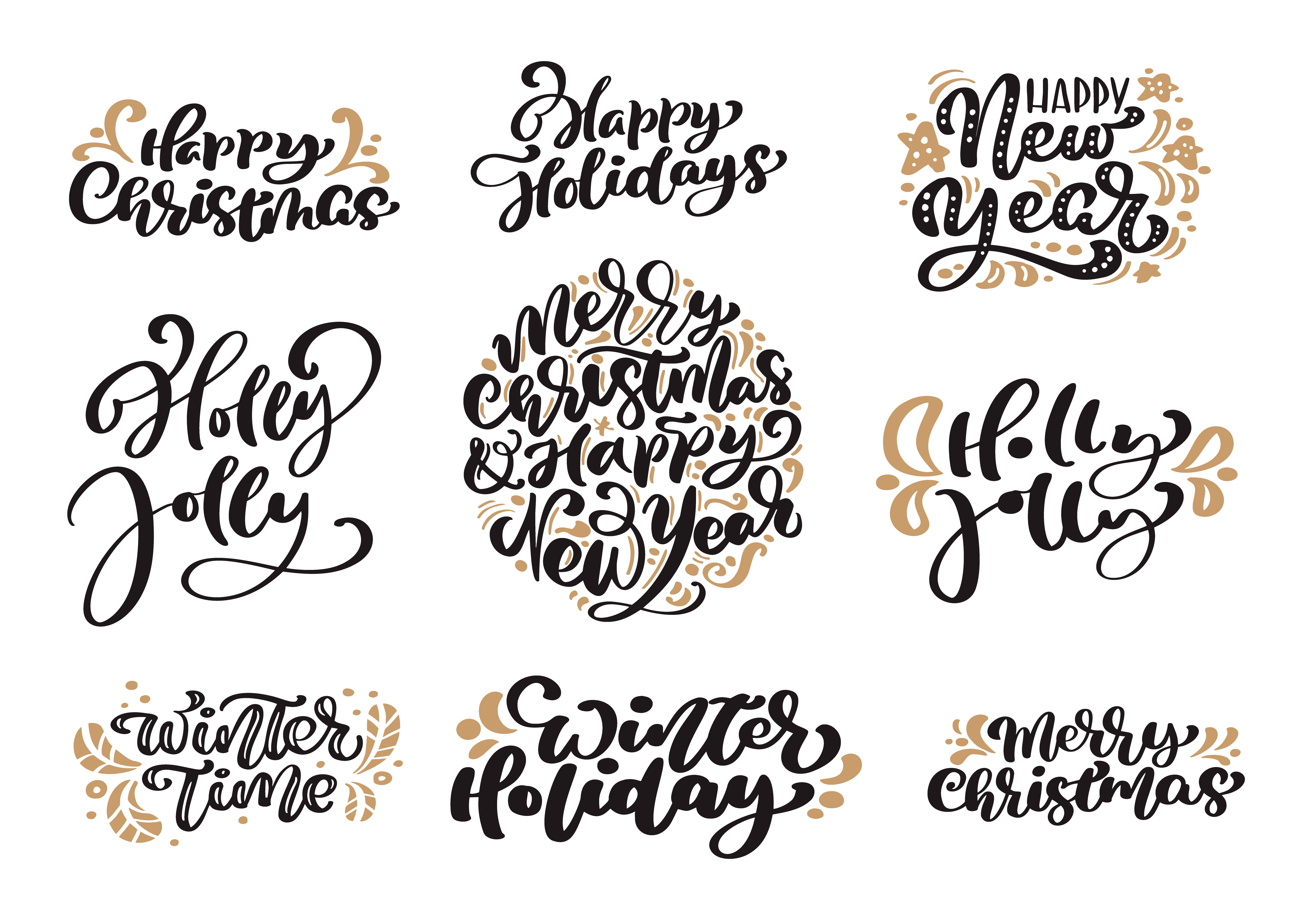 Set of Merry Christmas vintage calligraphy lettering vector.
