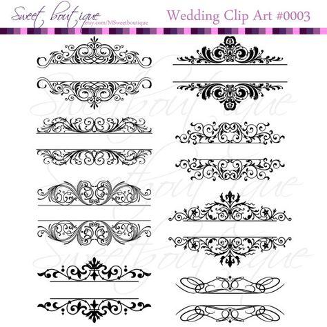Vintage Calligraphy Clip Art Clipart DIY Wedding Invitation.
