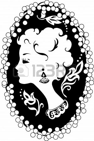 Woman silhouette vintage profile in cameo.