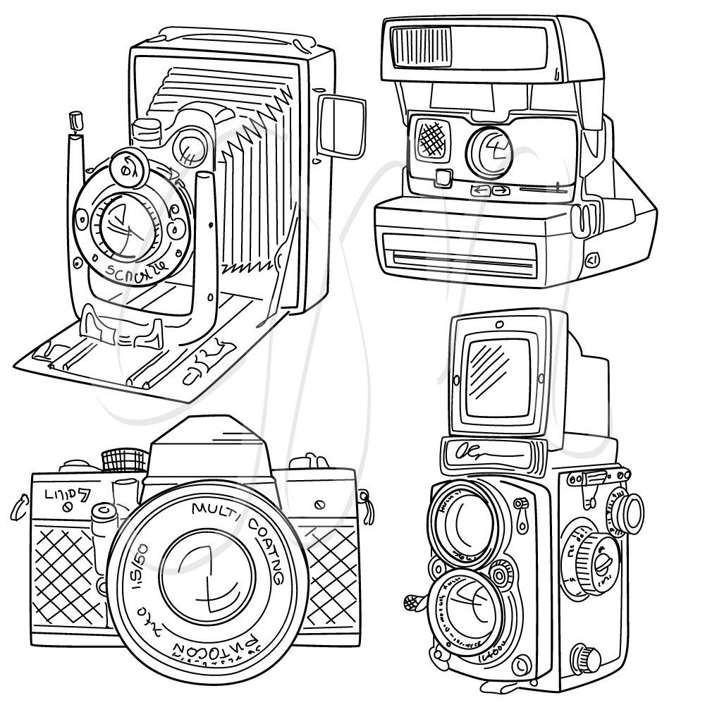 15 Hand Drawn Vintage Camera, digital paper and clip art set.