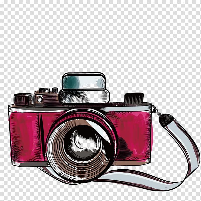 Camera Drawing Illustration, old camera, illustration of.