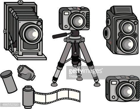 Vintage Camera Equipment Clipart Image.