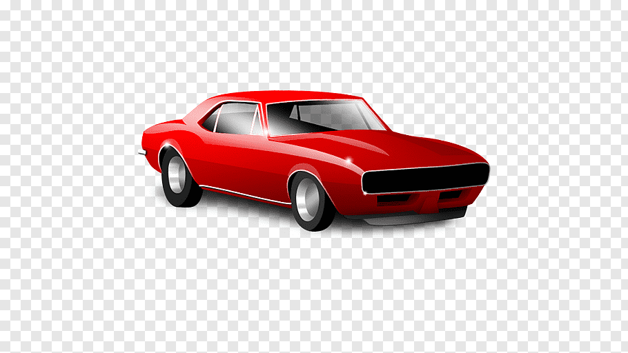 Red and black car illustration, Sports car Chevrolet Camaro.