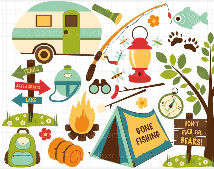 17+ Vintage Camping Clipart.