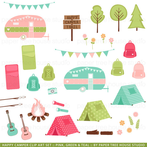 Camping Clip Art. Camper Clipart. Glamping Clip Art.