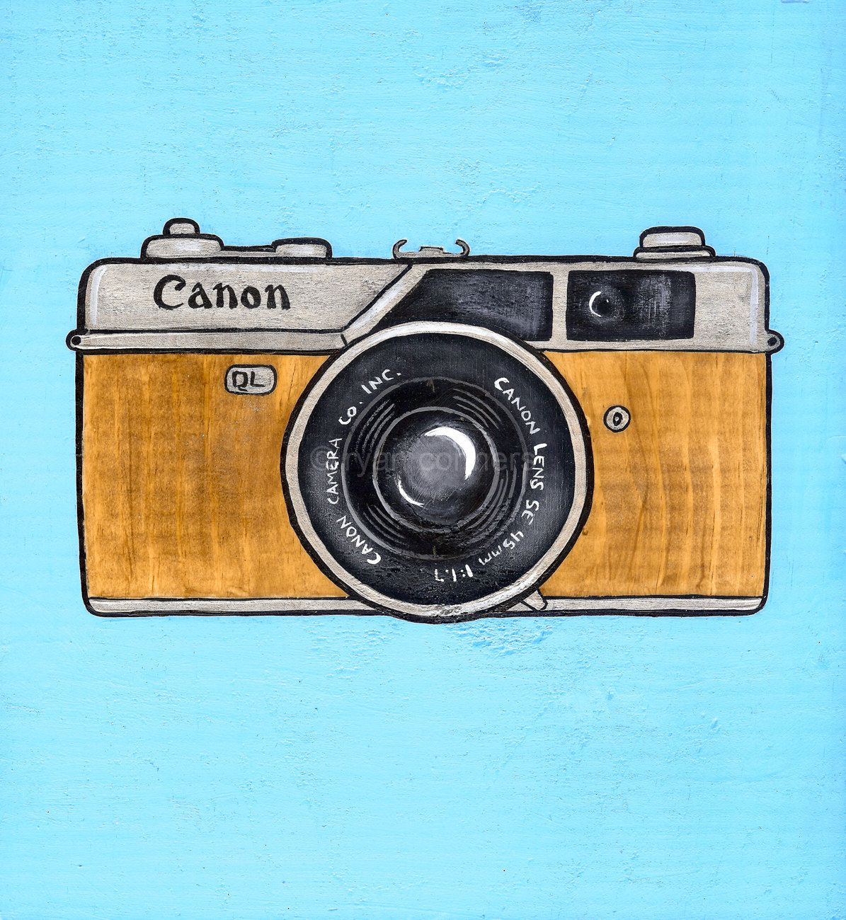 Vintage Canon Camera Original Folk Art Painting.