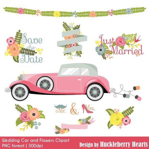 Wedding Clipart, Flower Clipart, Car Clipart, Floral Clipart.