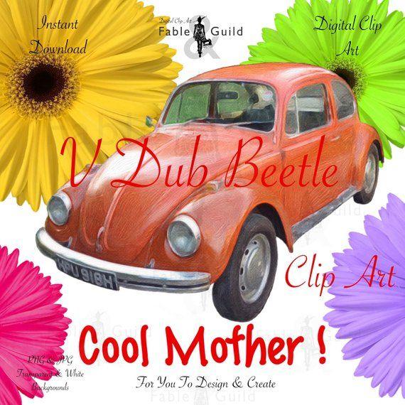 Vintage Volkswagen Beetle Car Clipart, VW Bug Retro Wall Art.