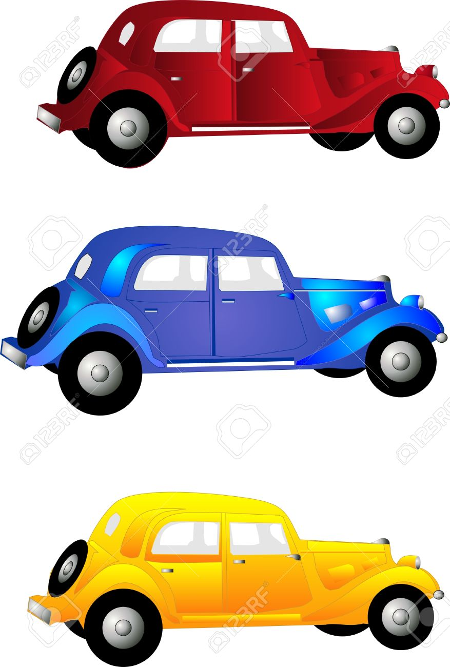 Three Old Vintage Cars In Red, Blue, And Yellow For Clip Art.