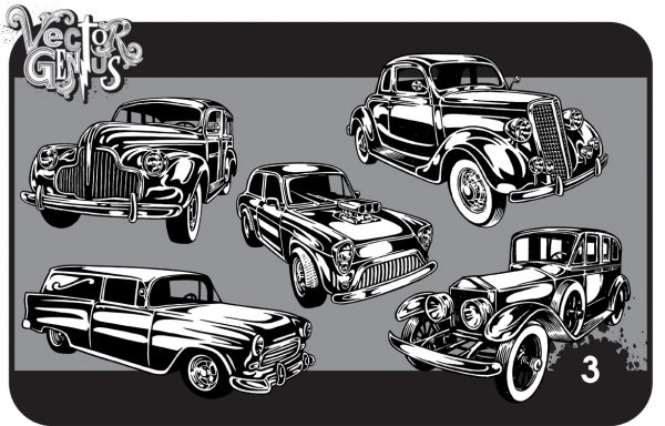 Vintage Cars Clip Art Hand Drawn Vector Pack.