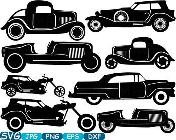 Vintage Sport Cars Monogram clip art hot rod Antique Car.