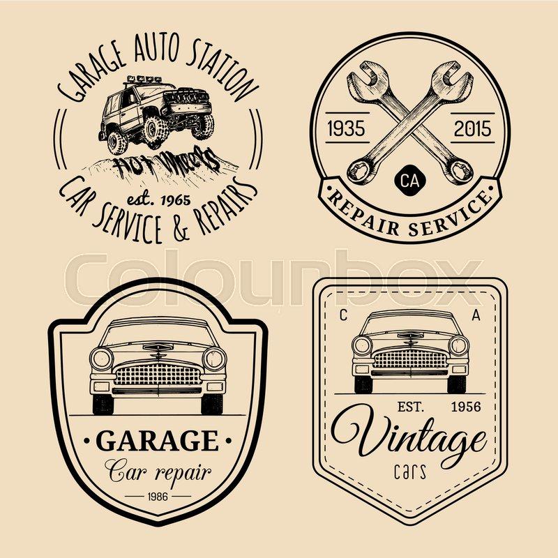 Garage logos set. Car repair emblems.