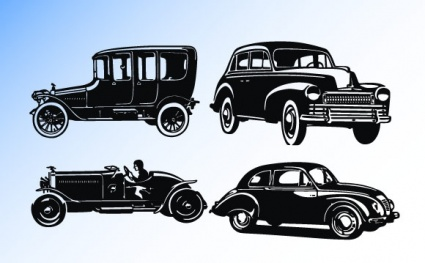 Old car silhouettes Clipart Graphic.