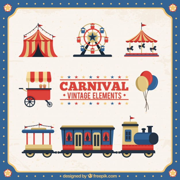 Vintage carnival elements collection Vector.