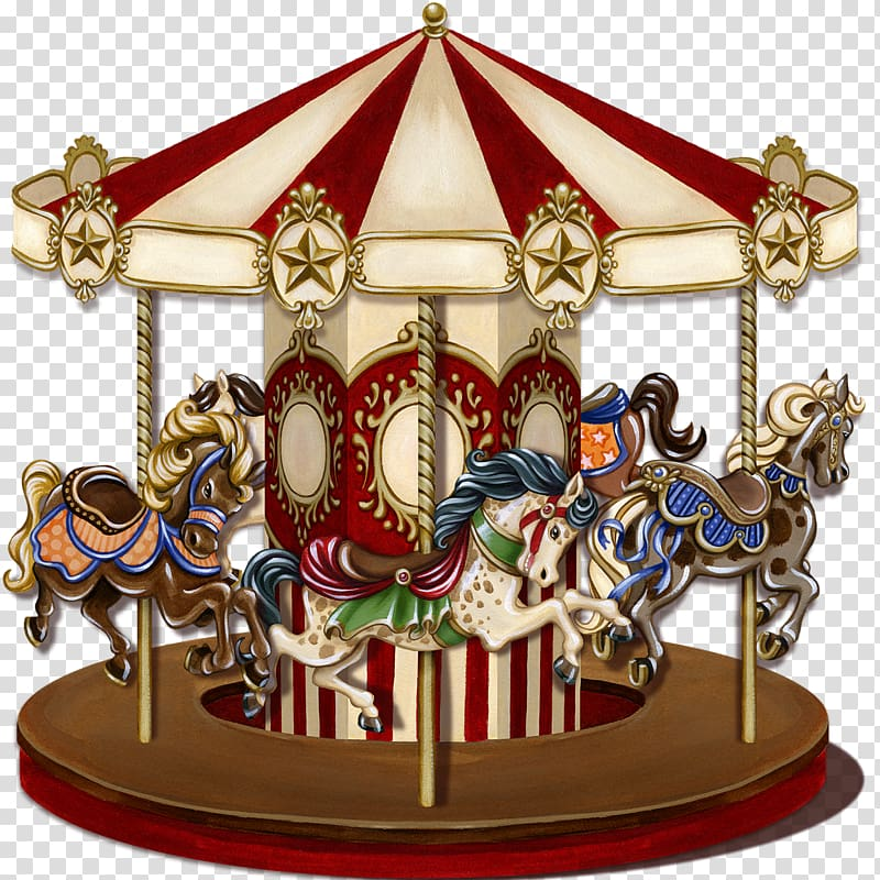 Beige and red horse carousel illustration, Vintage Carousel.