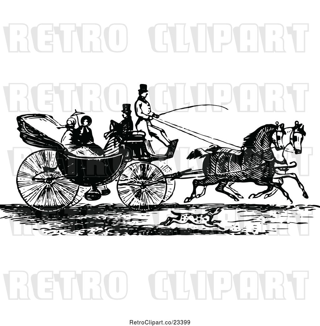 Vector Clip Art of Retro Horse Drawn Carriage and Passengers.