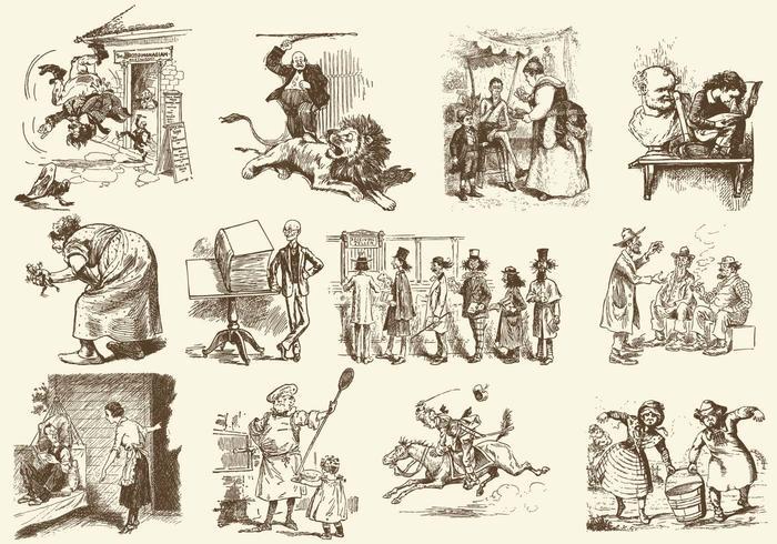 Sepia Vintage Cartoons.