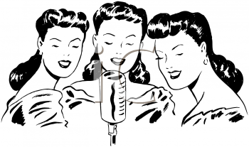 Black and White Vintage Cartoon of a Trio of Female Singers.