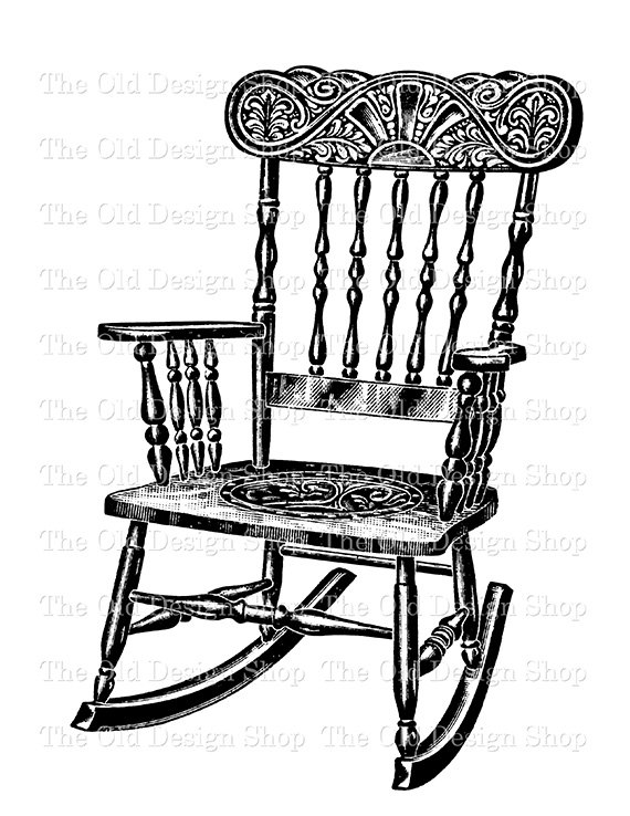 Vintage Rocking Chair Clip Art Illustration Digital Stamp.