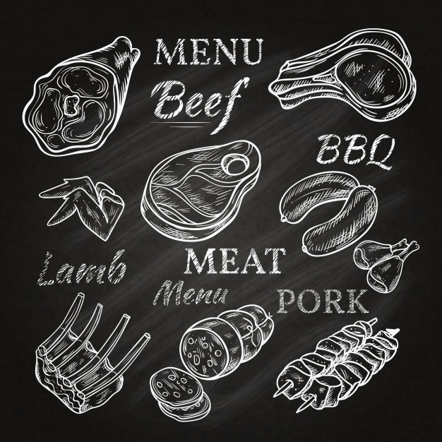 Retro meat menu drawings on chalkboard with lamb chops.