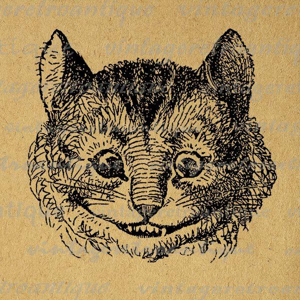Alice in wonderland cheshire cat digital image graphic.
