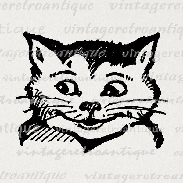Cheshire cat alice in wonderland digital graphic image.