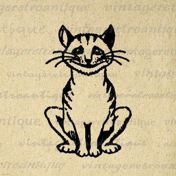 Digital Cheshire Cat Printable Download Alice in Wonderland.