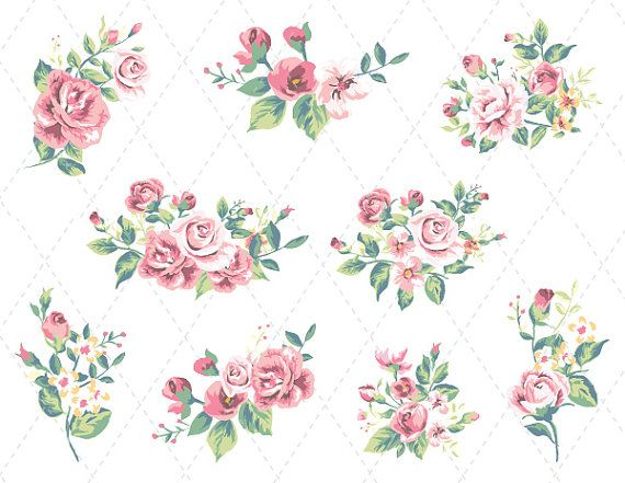 Shabby Chic Flowers Clipart.