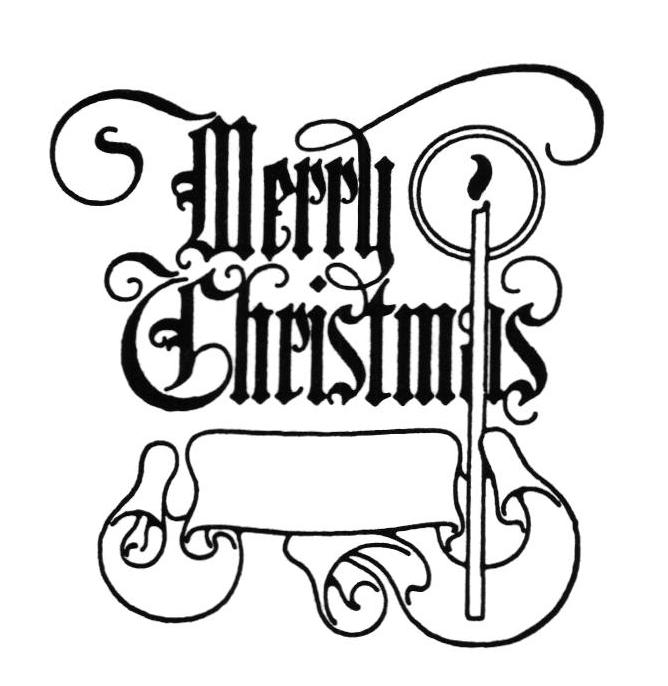 vintage clip art - Christmas Clip Art Black And White