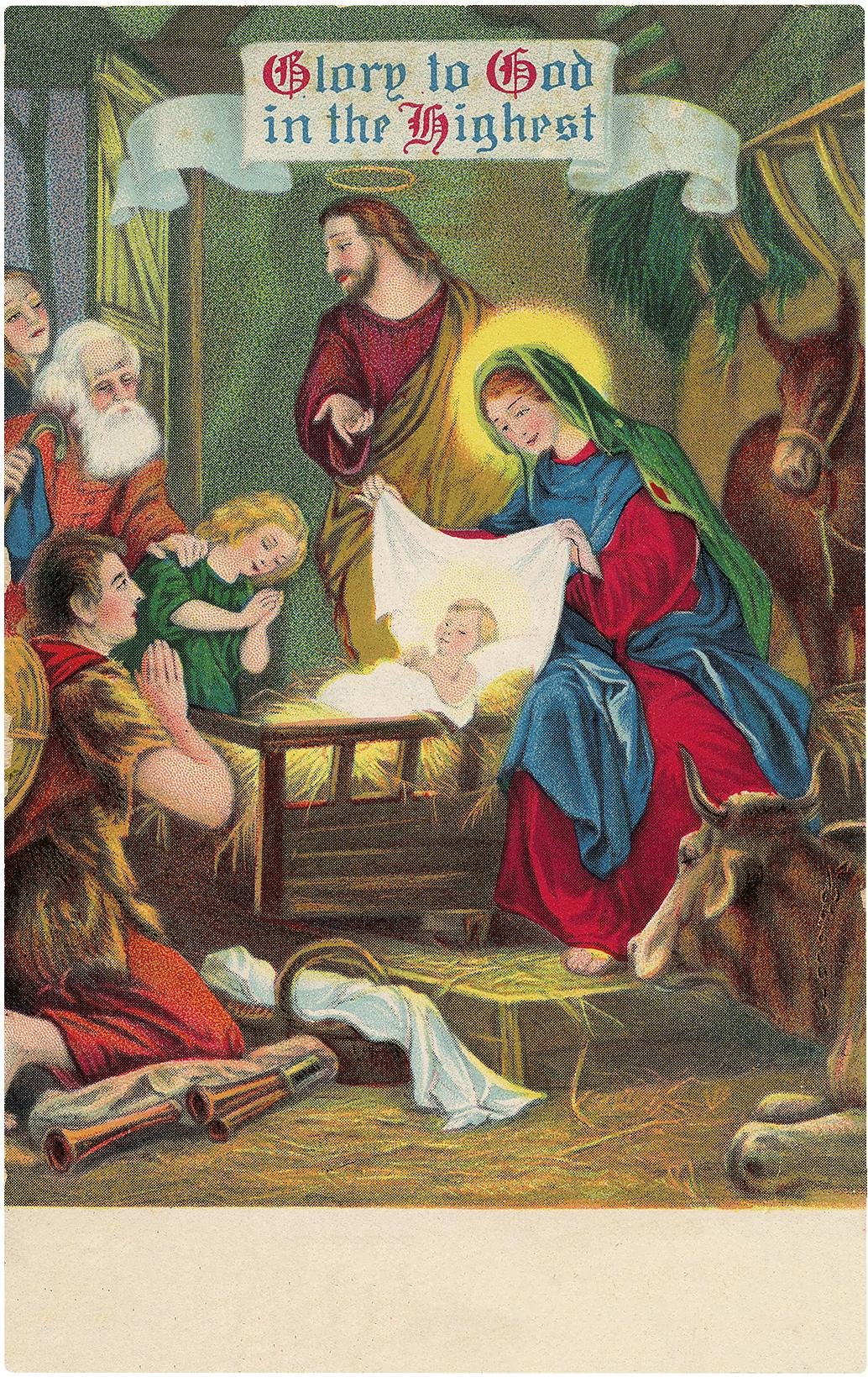 8 Vintage Christmas Nativity Images!.