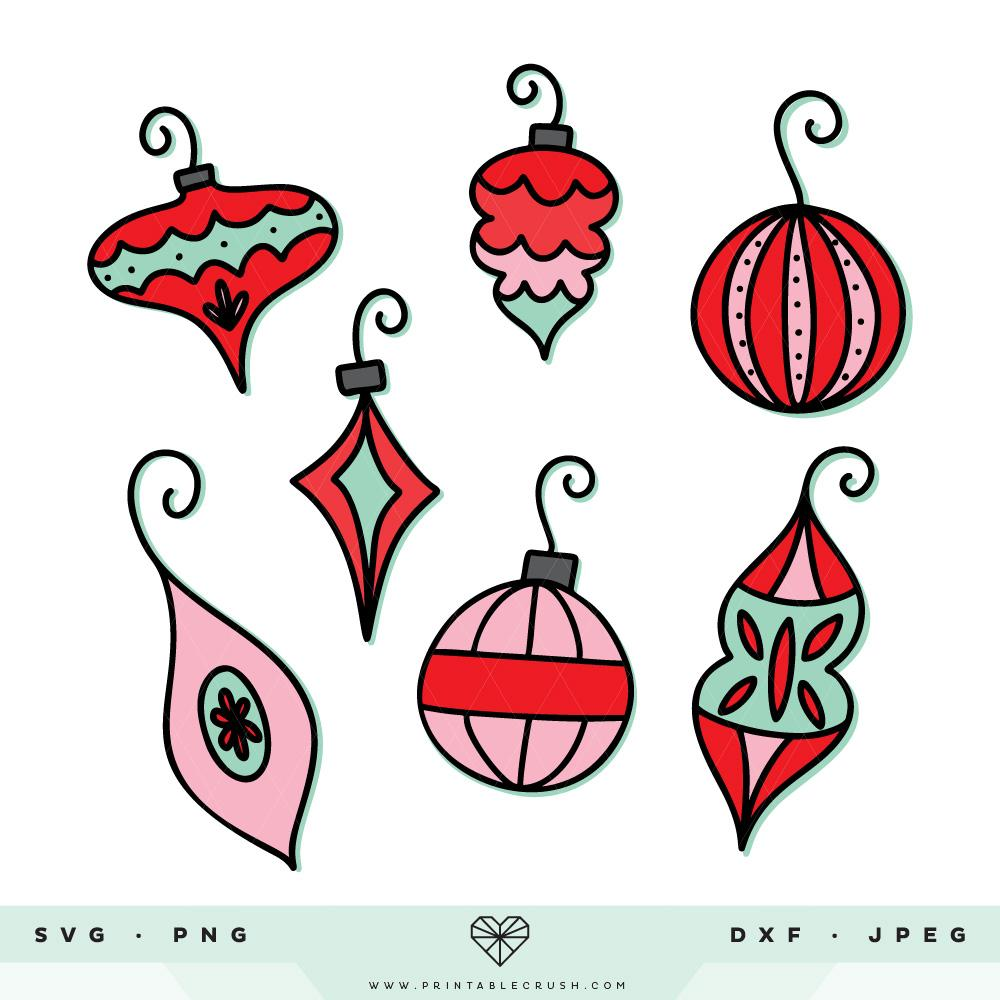 Vintage Christmas Ornament SVG Files.