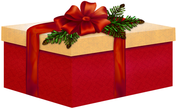 Large Red and Cream Present with Red Bow Clipart.