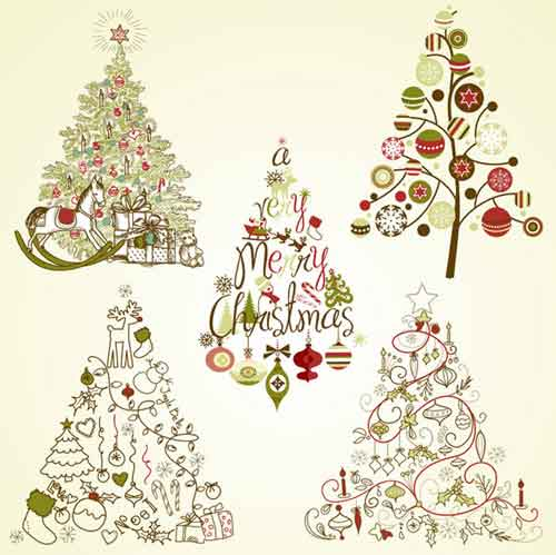 Christmas Tree Clip Art: 30 Sets of Free Vector Graphics.