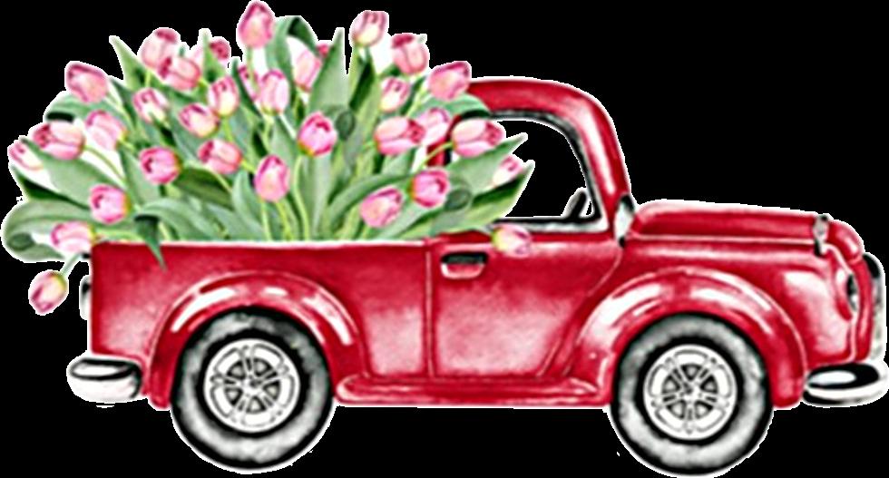 watercolor truck flowers tulips vintage antique classic.