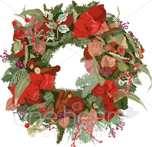Vintage Christmas Wreath Clipart.