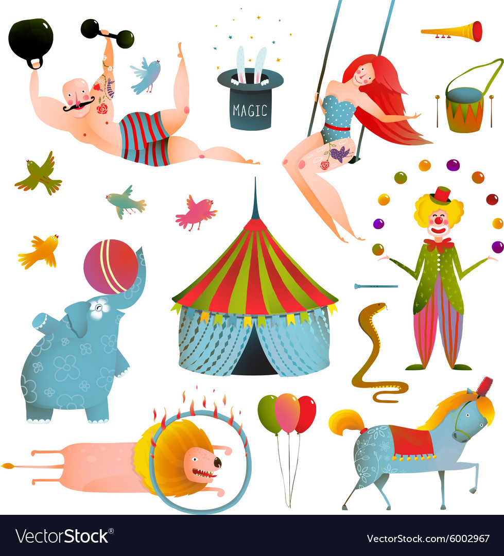 Circus Carnival Show Clip Art Vintage Collection.