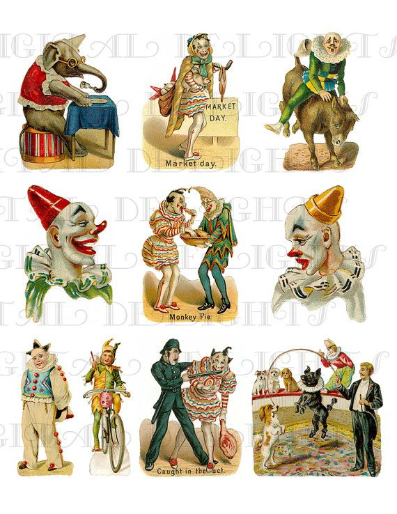 Antique CIRCUS CLOWNs! Digital Printable Circus Clown.