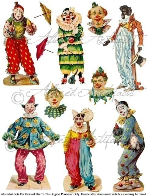 Printable Clowns Clip Art Printable Vintage Circus.