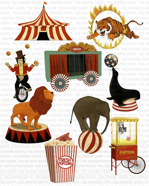Circus Clip Art Vintage Circus Clipart Highly by GraphicGears.