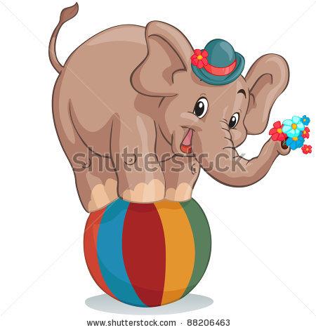 Vintage Circus Elephant Clipart.