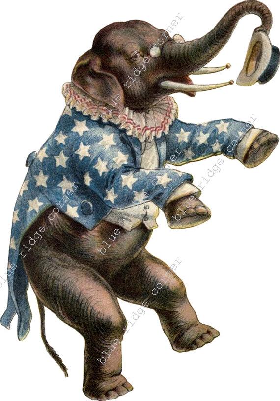 Vintage Circus Carnival Elephant Clip Art Image.