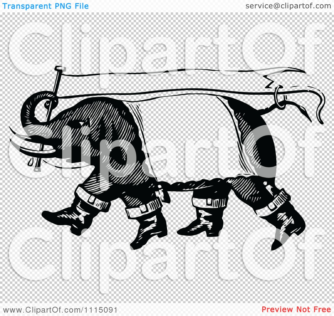 Clipart Vintage Black And White Circus Elephant Carrying A Banner.