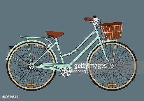Vintage city bicycle with a basket Clipart Image.