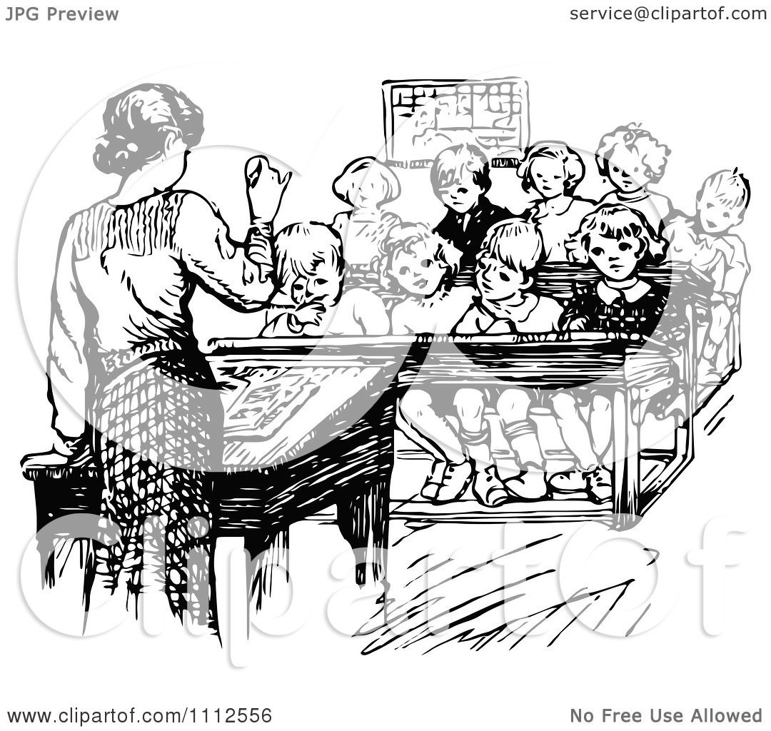Clipart Retro Black And White Teacher Speaking In Front Of Her.