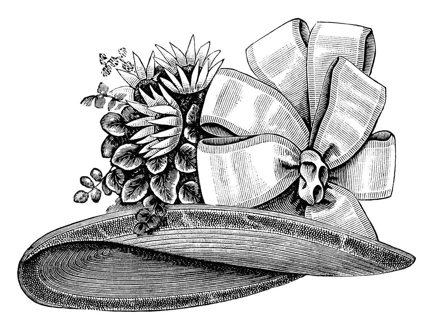 Ladies\' Victorian Hat ~ Free Vintage Clip Art.