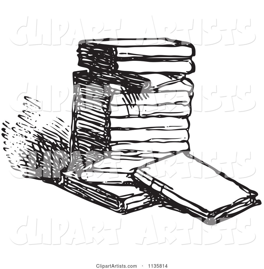 Retro Vintage Stack Of Books In Black And White Clipart by.