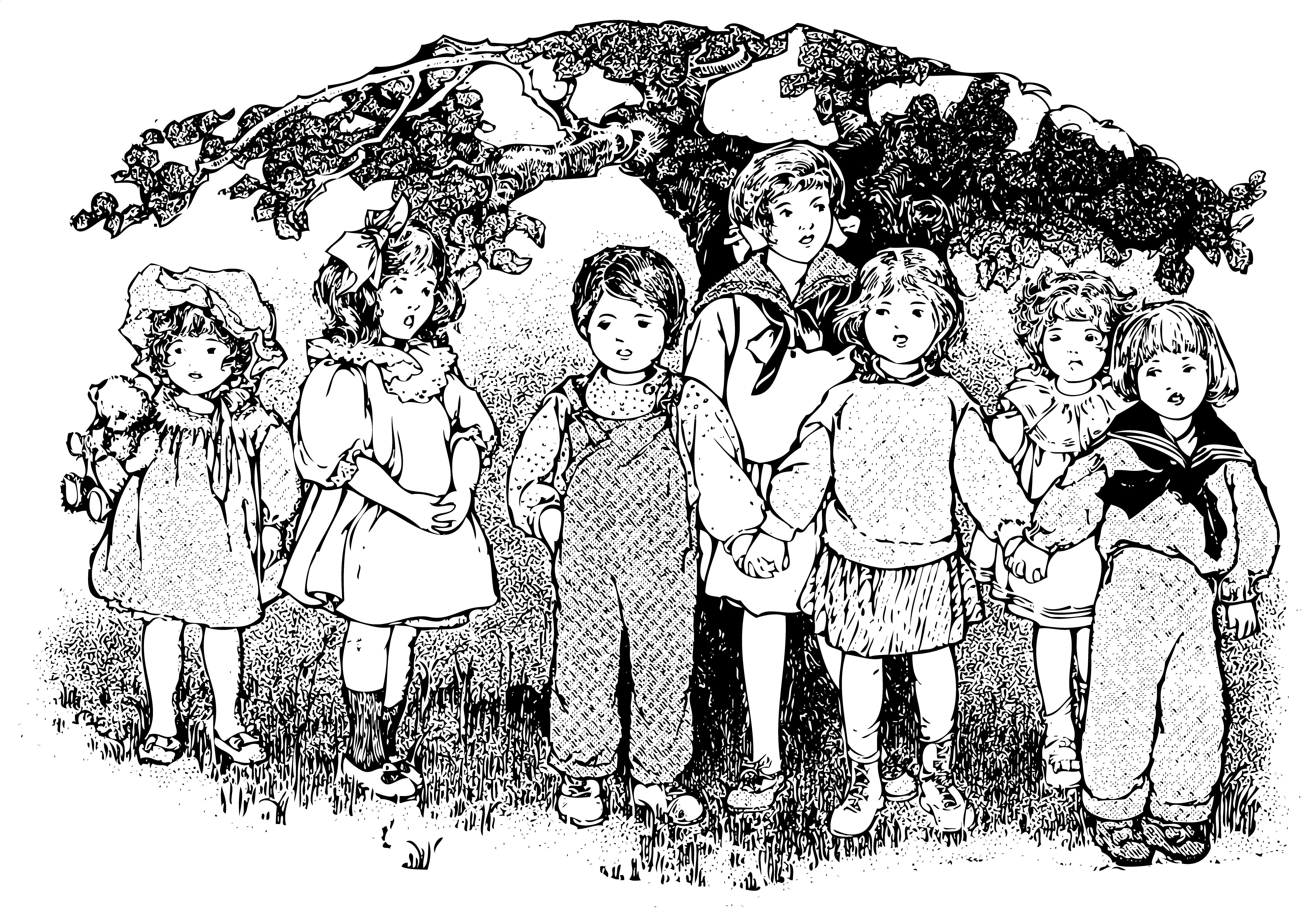 Vintage Kids Clip Art From A Primer 1910.