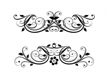 Flourish Clip Art Vintage Flower Clipart Designs for DIY.