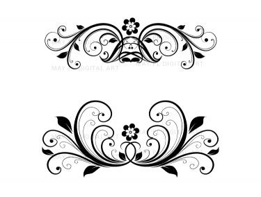 Flourish Clip Art Vintage Flower Clipart Designs for DIY.
